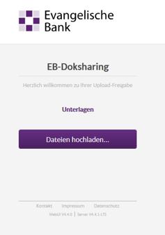 Upload-Fenster von EB-Doksharing