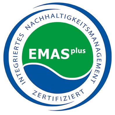 """Logo von EMASplus mit der Aufschrift """"Integriertes Nachhaltigkeitsmanagement zertifiziert"""""""
